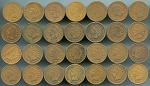 28 different Indian Cents Coin Lot Average Circulated. See details.