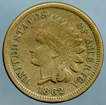 1862 Copper Nickel Indian Cent VF-20+