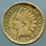 1863 C.N. Indian Cent VF 20 light corrosion obverse