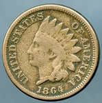 1864 CN Indian Cent Good+