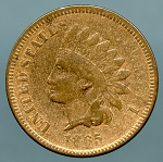 1865 Indian Cent Fine lightly cleaned