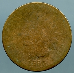 1866 Indian Cent About Good