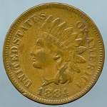 1884 Indian Cent VF-20+