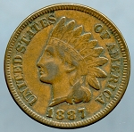 1887 Indian Cent XF-40