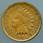 1904 Indian Cent AU 50 light spot reverse