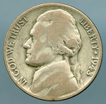 1943 3/2 Jefferson Nickel VG