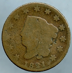1821 Large Cent About Good