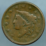 1836 Large Cent Very Good- slightly bent