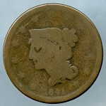 1841 Large Cent About Good- Weak date
