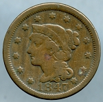 1847 Large Cent Very Good- Light corrosion obverse