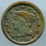 1847 Large Cent VF-20- Discolored obverse