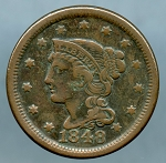 1848 Large Cent Choice VF-35- Light corrosion obverse