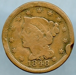 1848 Large Cent About Good- Rim bruise obverse