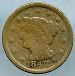 1848 Large Cent Good- Nicks on obverse