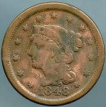 1848 Large Cent VG discolored
