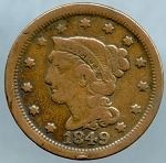 1849 Large Cent Very Good