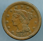 1850 Large Cent Fine plus