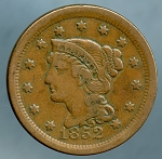 1852 Large Cent Choice VF-35