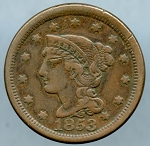 1853 Large Cent VF-20- Cut on obverse