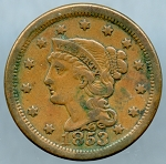 1853 Large Cent VF-35 Light corrosion obverse