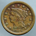 1854 Large Cent VF-35- Lightly corroded obv.+ rev.