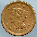 1851 Large Cent VF 35 lightly cleaned spot obverse