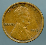 1916 Lincoln Cent XF 40 light lamination obverse