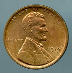 1919 Lincoln Cent MS 60 details cleaned