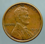 1919 S Lincoln Cent XF 45