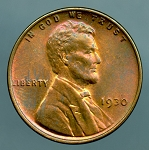 1930 Lincoln Cent MS 60 Brown
