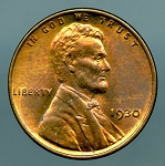 1930 Lincoln Cent MS 63 Red Brown