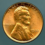 1933 Lincoln Cent MS 64 Red