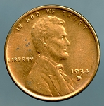 1934 D Lincoln Cent MS 63 spots on obverse