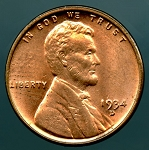 1934 D Lincoln Cent MS 63 Red