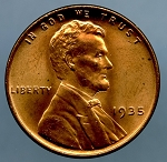 1935 Lincoln Cent MS 63