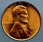 1935 Lincoln Cent MS 64