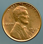 1935 S Lincoln Cent MS 63 light spots obverse