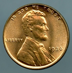 1936 Lincoln Cent MS 63