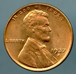1937 S Lincoln Cent Choice B.U. MS-63
