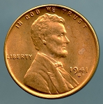 1941 S Lincoln Cent MS 63