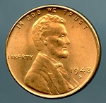 1948 S Lincoln Cent Choice B.U. MS-65