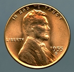1955 S Lincoln Cent Choice B.U. MS-65