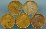 1909 V.D.B. Lincoln Cent 5 piece lot AG's