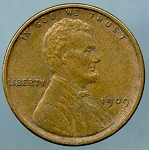 1909 V.D.B. Doubled Die Obverse Lincoln Cent  AU-50+