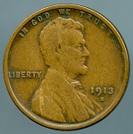 1913 S Lincoln Cent VF-20