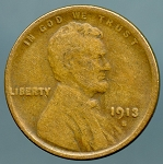 1913 S Lincoln Cent VG