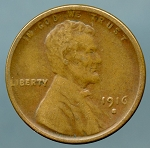 1916 S Lincoln Cent Choice VF-35