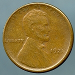 1921 S Lincoln Cent XF-40 light spot obverse