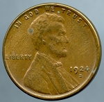 1924 S Lincoln Cent Choice XF-45 Small spot obverse