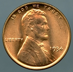 1934 Lincoln Cent MS 65 Red